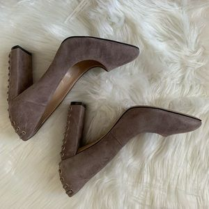 Vince Camuto Taupe Suede Block Heels Size 8M